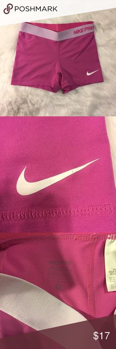 Pink Nike Pro Dri-Fit Shorts Small Cute preowned nike shorts, no rips, still have a lot of life in them and look great Nike Shorts
