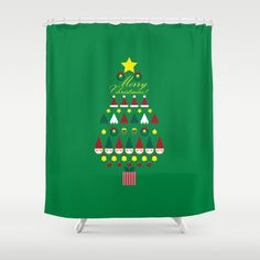 FLAT CHRISTMAS series -CHRISTMAS TREE_G Shower Curtain by SEOL.D - $68.00