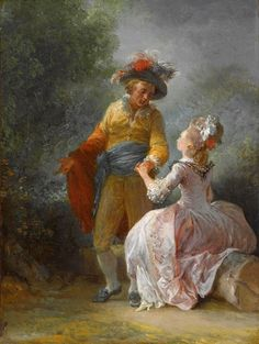 The Engagement by Jean Frederic Schall Rococo Painting, Victorian Paintings, Pink Painting, Art Eras, Romantic Paintings, Frederic, Painted Cottage, Rococo Style, Antique Paint