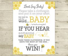 Don't Say Baby  Bee Baby Shower Game  Sign  by CelebrateBabyCo