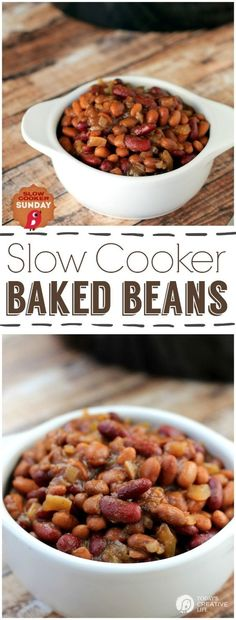 Slow Cooker BBQ Baked Beans | BBQ Beans | Crockpot Baked Beans | Free up the stove top for this summer favorite. See more Slow Cooker Sunday recipes on TodaysCreativelife.com