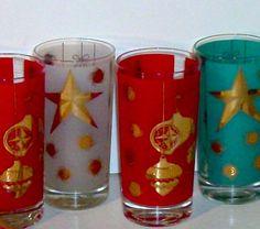 SANTA BABY Vintage Mid Century 50's Atomic Christmas Glasses Set of 5 Treasury…