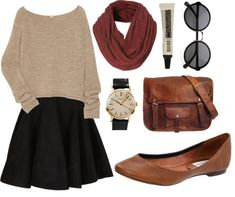 black short skirt, tan long sleeved sweater, rust red infinity scarf, sunglasses, leather bag, wristwatch, leather pointed flats