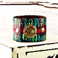 OOAK Vintage Leather Cuff Handmade Jewelry $50.00, via Etsy.