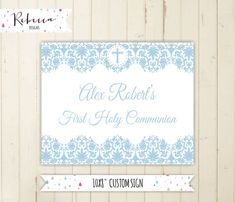 boy communion welcome sign baptism sign blue baptism sign confirmation welcome sign printable sign light blue boy baptism bautismo  by RebeccaDesigns22