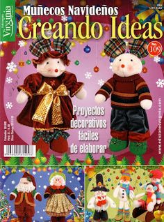 REVISTAS DE MANUALIDADES GRATIS: Revista para Navidad Christmas Books, Christmas Crafts, Christmas Ornaments, Xmas, Painted Books, Christmas Is Coming, Felt Dolls, Soft Sculpture, Pattern Books