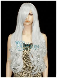 Silver White Long Curly Cosplay Classy Hair Wig Animation Charming TBZ