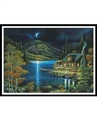 Moonlit Cabin: A Cross Stitch Chart by Artecy Cross Stitch House Art, Moonlight, Cross Stitch, Cabin, Crafty, Projects, Pictures, Painting, Log Projects