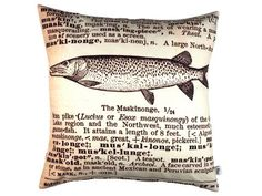 Handmade cushion in dictionary print fabric exclusive to Max & Rosie