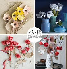 Trader Joe's Bag Challenge: Project 3 - Paper Flowers - Happiness is. Paper Bag Flowers, How To Make Paper Flowers, Fabric Flowers, Diy Paper, Paper Crafts, Diy Crafts, Tissue Paper, Handmade Flowers, Diy Flowers