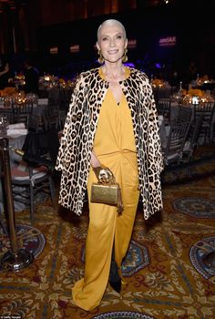 Golden girl: South African-Canadian model and dietician Maye Musk, who is also the mother of Elon Musk, showed up in a yellow frock with a leopard print coat over her shoulders, accessorized with bright gold earrings and purse to match Over 50 Womens Fashion, Fashion Over 50, Maye Musk, Canadian Models, Leopard Print Coat, Casual Outfits, Fashion Outfits, Women's Fashion, Fashion Tips