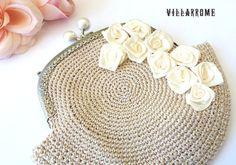 Bolso dorado romántico de ganchillo, shabby chic bolso, boquilla dorada, boda, nupcial, fiesta, poliester dorado, rosas beis, hecho a mano