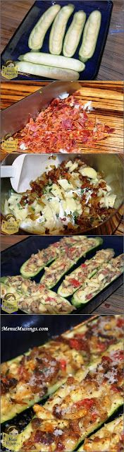 Stuffed Zucchini--3 zucchini 1/2 large onion, 1 Tbsp butter, 6 slices crispy bacon, 1 Tbsp sour cream, 1/4 tsp curry powder, 1 Roma tomato,  1 tsp fresh thyme leaves, freshly grated Parmesan cheese.