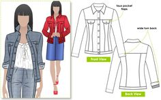 Style Arc Patterns STACIE JEAN JACKET: Great Jean Jacket sitting on the high hip with flattering shaping through the body. The sleeve features a deep hem so can be worn turned up for a casual look. Diy Clothing, Clothing Patterns, Coat Patterns, Pdf Sewing Patterns, Couture, Jean Jacket Styles, Trendy Jeans, Dress Making Patterns, Sewing Blogs
