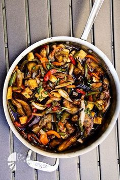 Thai Basil Eggplant - VERY good, Would be great to try over noodles. 290 calories for veggies/sauce when recipe is split into 5 servings.
