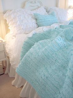 Shabby Cottage Chic Dreamy Aqua Blue Ruffles I just died....I am so in love with this....