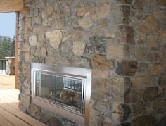 Outdoor fireplace of Timberline stone. Masonry Veneer, Natural Materials, Square Feet, Stone, Outdoor, Home Decor, Outdoors, Rock, Decoration Home