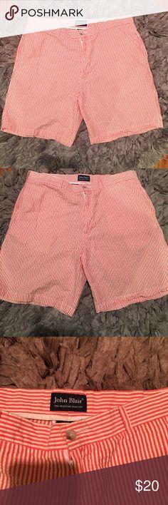 Men's seersucker shorts Tangerine colored seersucker shorts with pockets. In great condition! 100% cotton John Blair Shorts