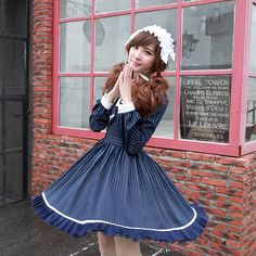 Kawaii Vertical stripes Lolita dress, Like the Sailor Lolita Fashion Order link>>http://www.lovejoynet.com/Lovely-Sailor-Lolita-Navy-Cotton-Dress-p6566.html