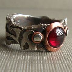 Fine Silver and Copper Ring with Natural Garnet Made by JaneFont