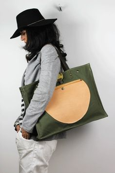 Oversized Tote Bag Canvas & Leather/ Weekender Bag/Military