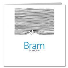 Geboortekaartje, jongen, Bram, Zwart-wit, lijnen