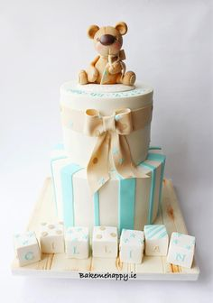 Teddy bear christening cake by Elaine Boyle....bakemehappy.ie