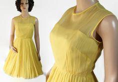 ON SALE 60s Chiffon Dress Yellow Wedding Cocktail Prom