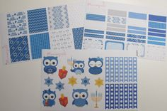 Hanukkah Owls Stickers Kit MATTE for your Erin by Plannergirls