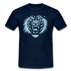 Roaring tiger by Cheerful Madness!! Suitable for plot printing, flex and flock. You can change the colour of the graphic.  T-Shirts.