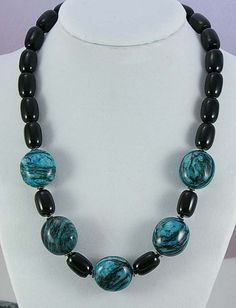 Black onyx and turquoise marble necklace by Jularee
