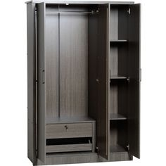 Shop for Lisbon 3 Door Black Woodgrain Wardrobe at wilko - where we offer a range of home and leisure goods at great prices. Three Door Wardrobe, Single Wardrobe, Wardrobe Room, Wardrobe Design Bedroom, Wardrobe Closet, Wardrobe Ideas, Wooden Closet, Wooden Wardrobe, Folding Wardrobe