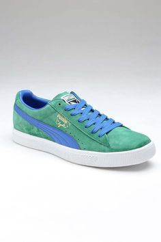 Comfortable 223051 Puma Clyde Script Laceup Men Blue White Shoes