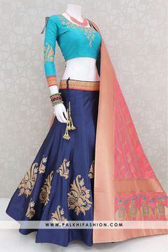 Blue Soft Silk Chaniya Choli Set With Beautiful Color Combination Palkhi fashion exclusive navy blue soft silk chaniya choli highlighted with teal pure silk blouse accompanied with peach pure silk duppata Chaniya Choli For Kids, Chaniya Choli Designer, Garba Chaniya Choli, Lehnga Dress, Lehenga Choli Designs, Indian Lehenga, Indian Designer Outfits, Designer Dresses, Indian Dresses