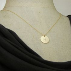 Gold Initial Necklace Gold Letter Necklace Simple by ERiaDesigns