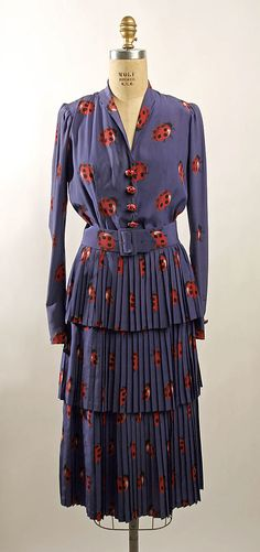 Dress Henri Bendel (American, founded Date: 1939 Culture: American Medium: silk 1930s Fashion, Moda Fashion, Vintage Fashion, Vintage Beauty, Jeanne Lanvin, Historical Costume, Historical Clothing, Wool Dress, Silk Dress