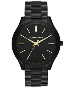 I WANT THIS SO BAD!! -- Michael Kors Watch, Women's Slim Runway Black-Tone Stainless Steel Bracelet 42mm MK3221 - Michael Kors - Jewelry & Watches - Macy's