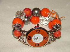 Orange Slate and Crystal Chunky Beaded Watch Band by BeadsnTime, $30.00