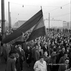 Budapest, 1956. október 23. Forradalom és szabadságharc Magyarországon, 1956-ban. A képen: Október 23-a délutánján, lyukas nemzetiszínű zászlóval vonul a végeláthatatlan, örömittas tömeg a Margit hídon át a Bem-szoborhoz. MTI Fotó: Bojár Sándor