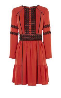 Karen Millen, APPLIQUÉ DRESS Red/Multi