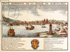 View of the Port of Barcelona (coloured engraving)
