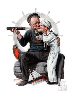 """Setting One's Sights"" or ""Ship Ahoy"", August 19,1922 Norman Rockwell"