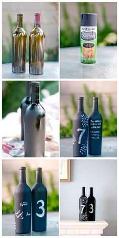 29. Wine Bottles | 33 Things You Can Turn Into Chalkboards - and don't let it fool you benjamin moore offers it in different colors