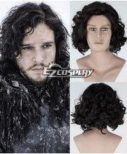 New Movie Game of Thrones Jon Snow Short Curly Black Cosplay Wig