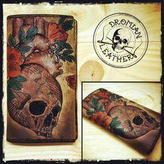 Tattooed long leather wallet Leather Wallet, Phone Cases, Tattoos, Tatuajes, Tattoo, Japanese Tattoos, Tattoo Illustration, A Tattoo, Time Tattoos
