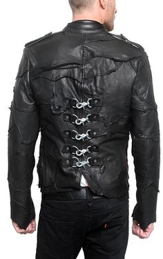 "back Men's JUNKER - ""POLICE"" Custom Leather Jacket - J Ransom Clothing Store"