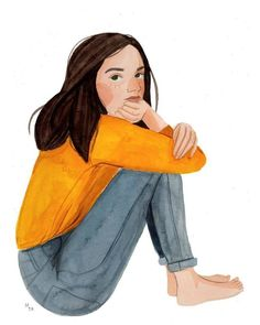Maggie Cole illustration of a girl in yellow sweater and jeans outfit Illustration Vector, Illustrations, Character Illustration, Art And Illustration, Illustration Fashion, Art Sketches, Art Drawings, Pretty Drawings, Drawing Art