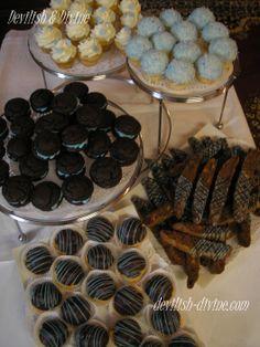 """""""It's a Boy"""" baby shower dessert buffet- Deep Chocolate whoopie pies, Triple Chocolate Biscotti, Vanilla & Coconut cupcakes, Ganache-glazed cream puffs......"""