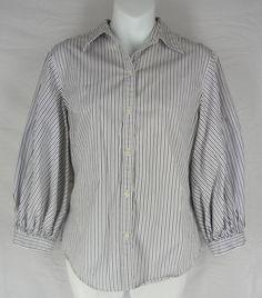 LAUREN RALPH LAUREN Shirt S Black White Striped Top Blouse 3/4 Sleeve Cotton $21.88 #LaurenRalphLauren #ButtonDownShirt