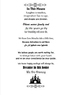 """The post """"in this house we do Disney Disneyland quotes by OnceUponAHoliday"""" appeared first on Pink Unicorn Quotes Disneyland Quotes, Disney Quotes, Disney Wall Art, Disney Decals, House Quotes, Life Quotes, Favorite Quotes, Best Quotes, Disneyland Halloween"""